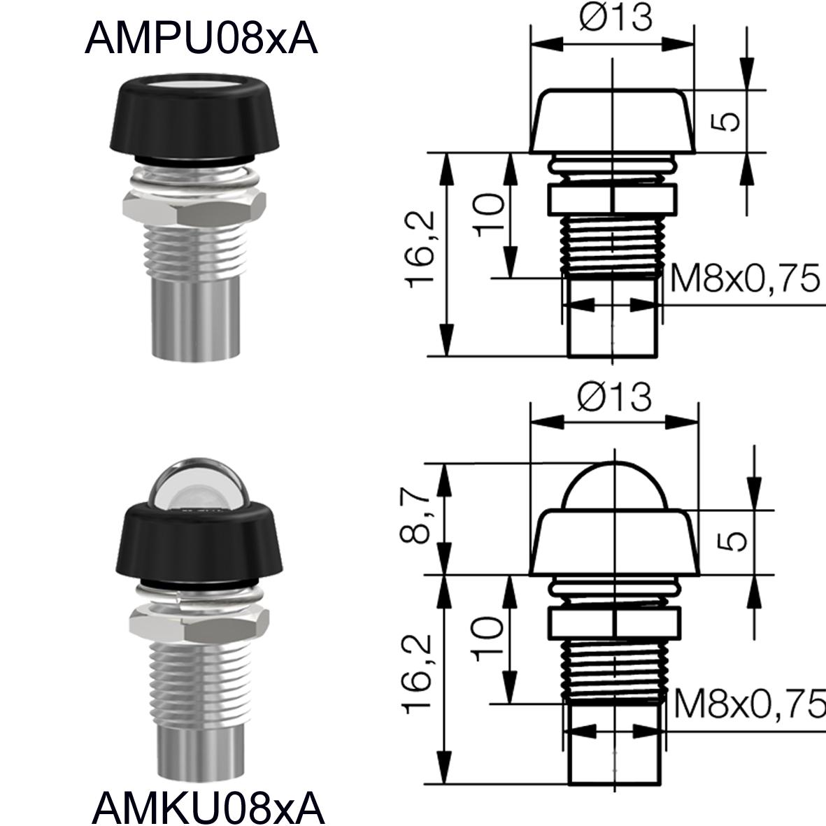 LED-Leuchtelement Ø8mm IP67 mit Linse / Glasscheibe / Glaskuppe