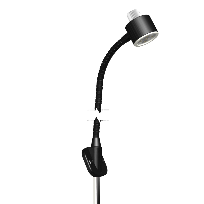 Timetable book reading lamp dimmable, with screw flange