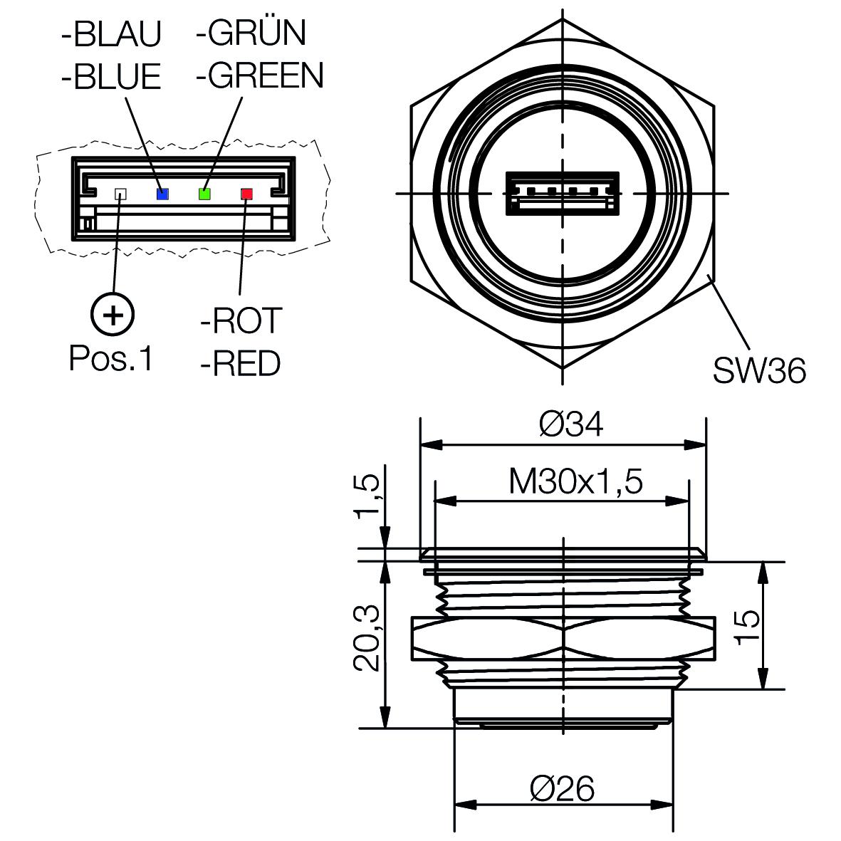 RGB Mini-LED-Spot Ø30mm multicolor für RGB Controller gemeinsame Anode - plan