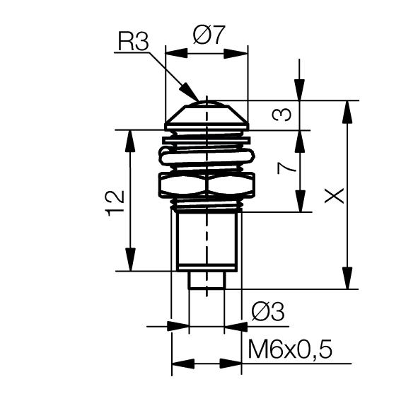 Metallgehäuse mit Lichtleiter Ø6mm Außenreflektor   IP67 - plan