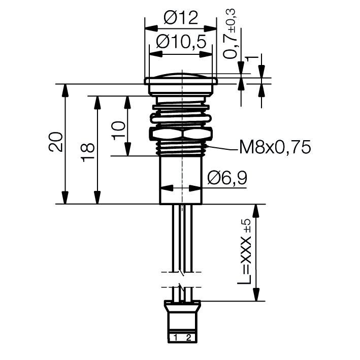 LED-Signalleuchte Ø8mm IP67 mit optischer Linse - plan