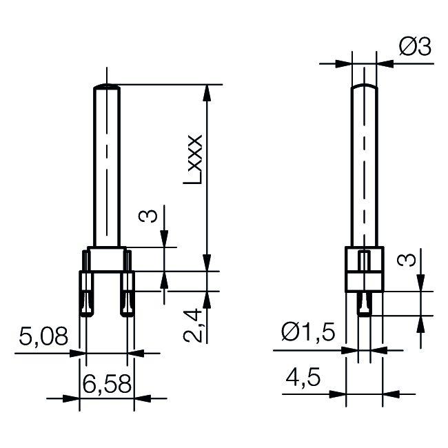 Einzel-Lichtleiter Ø3 mm - plan