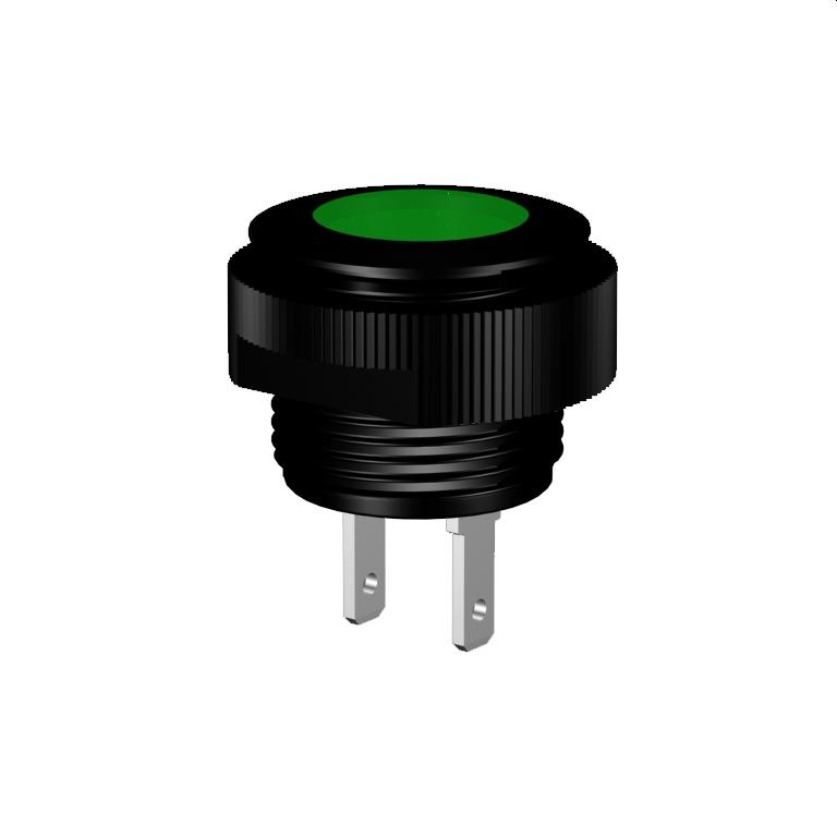 LED-Meldeleuchte Ø16mm IP67 superflach, Alu schwarz eloxiert Flachstecker 2,8x0,8mm
