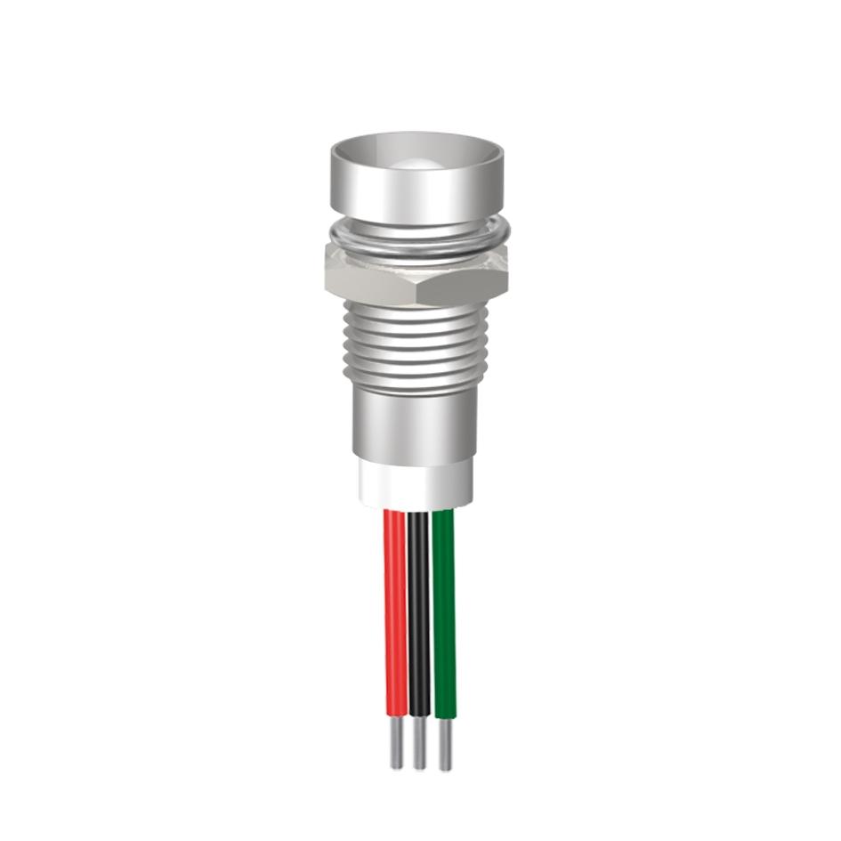 LED-Signalleuchte Ø8mm Innenreflektor Kopf zylindrisch dreifarbig