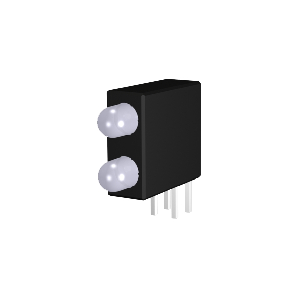 Leiterplattenanzeige mit 3mm LED zweifarbig, bipolar