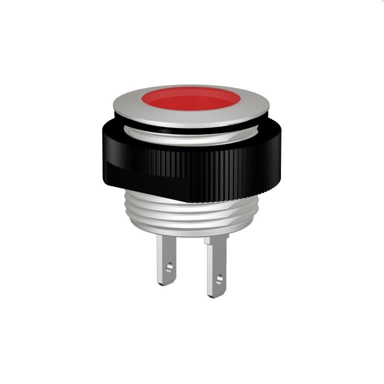 LED-Meldeleuchte Ø16mm IP67 superflach, Alu natur eloxiert, Flachstecker 2,8x0,8mm