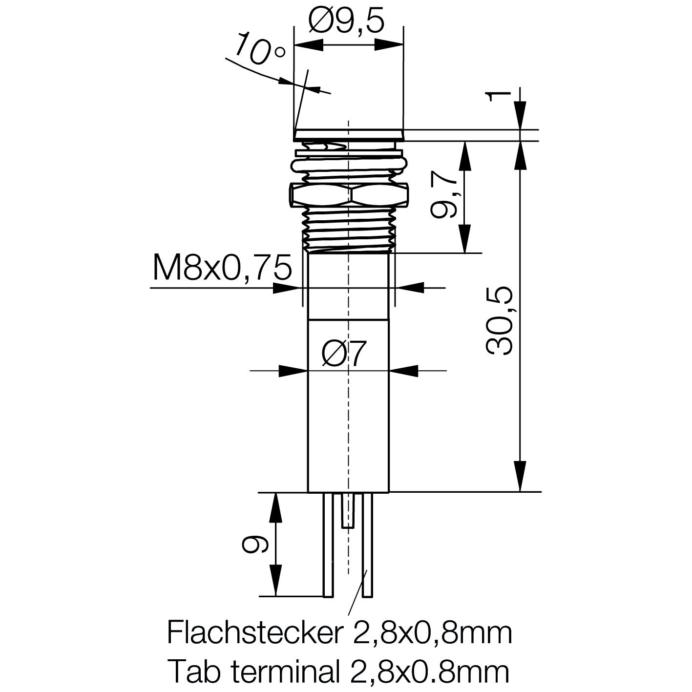LED-Signalleuchte Ø8mm IP67 Plan-Kopf LED - plan