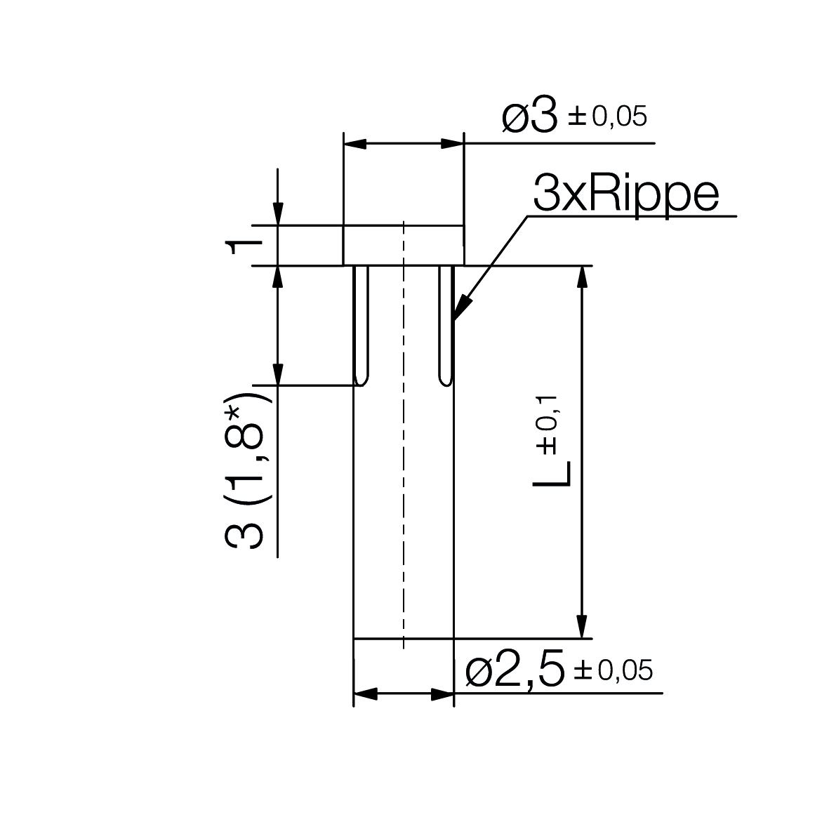 Einzel-Lichtleiter Ø2,5 mm - plan