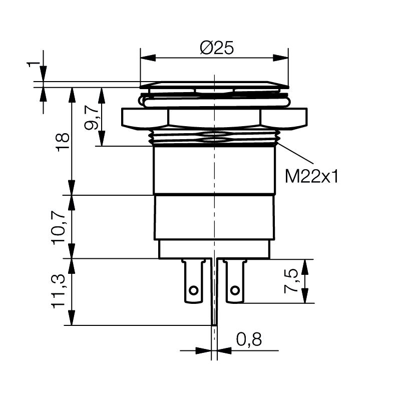 LED-Meldeleuchte Ø22mm IP67 superflach - plan