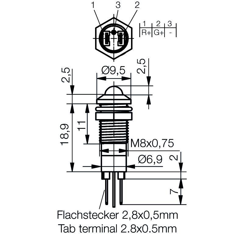 LED-Signalleuchte Ø8mm Außenreflektor zweifarbig - plan