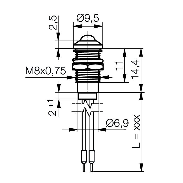 LED-Signalleuchte Ø8mm IP67 Außenreflektor - plan