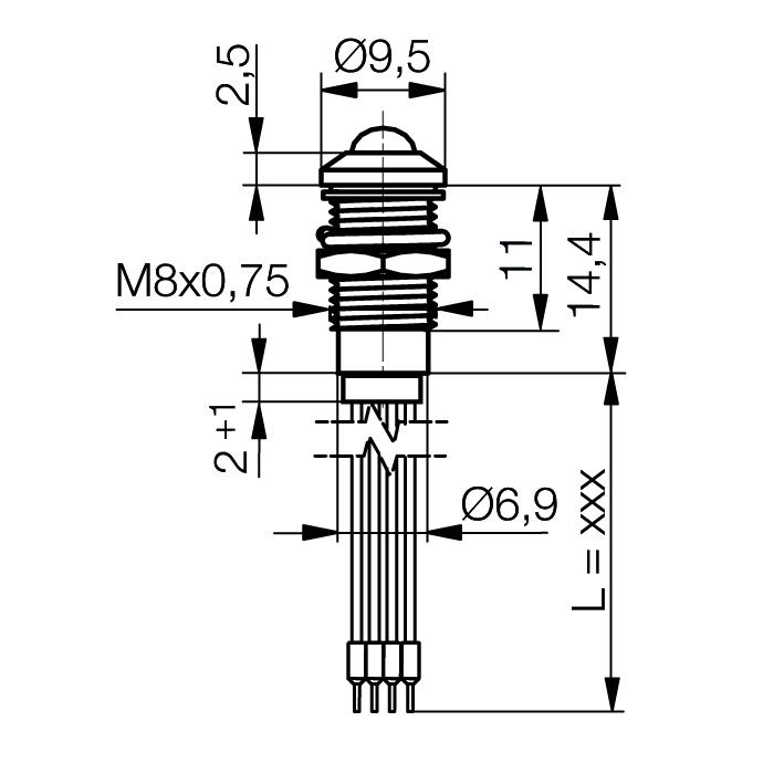 LED-Signalleuchte Ø8mm IP67 Außenreflektor, RGB - plan